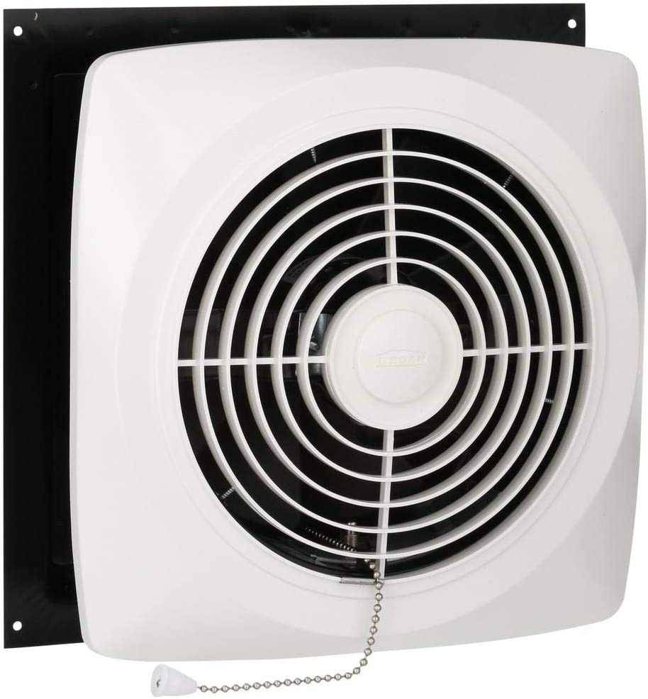 Broan-Nutone 506 Chain-Operated Ventilation Fan, Plastic White Square Exhaust Fan, 7.5 Sones, 430 CFM