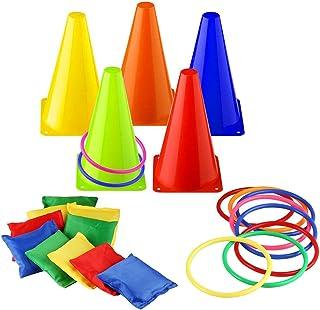 Markierungskegel Bohnensäckchen und Toss Rings Spielset für Kinder Fußball Markierkegel Sitzsäcke Trainingshilfen Multifunktionskegel für Sport, Reitsport & Hund Training