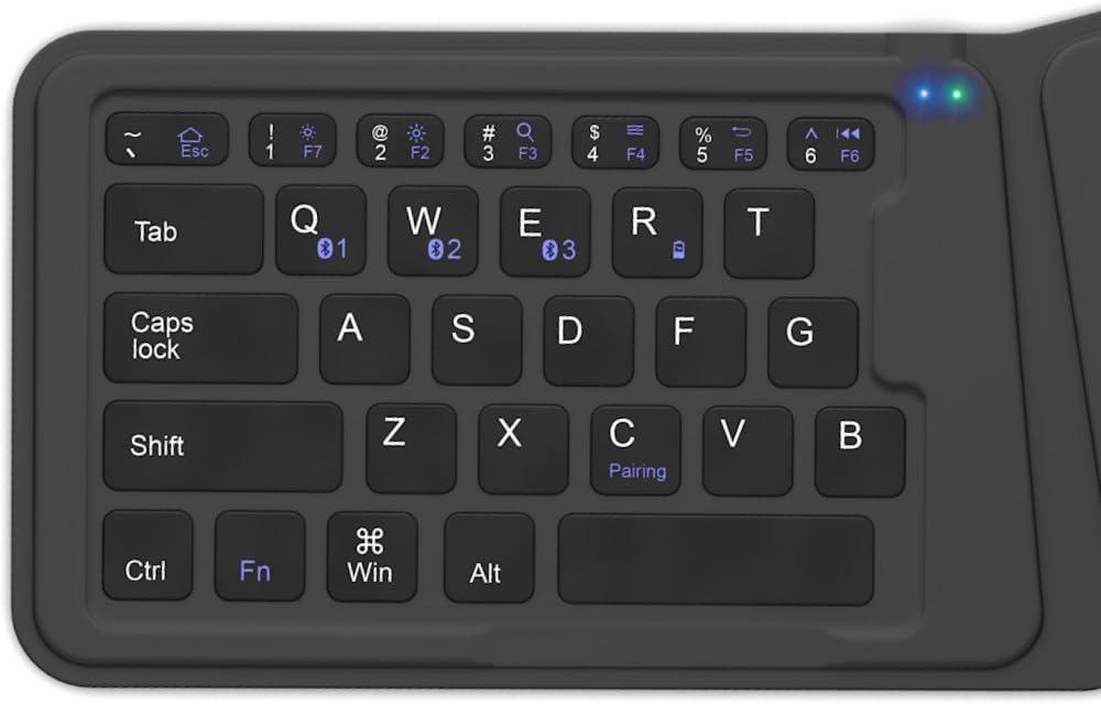 DICTOPRO V100 Teclado inalámbrico Bluetooth Universal para Tablets portátiles, Smartphones, iOS, Windows, Android Multi-Dispositivo. Plegable y ...