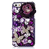 KAKA(TM) Phone Case for iPod, iPod Touch 6 3D Rhinestone Crystal Clear Back Cover with Purple Bling Flowers Diamond Butterfly