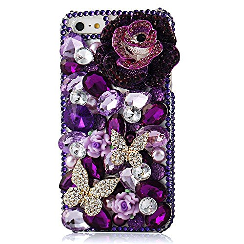 Spritech(TM) Bling Clear Phone Case For Iphone 7 Plus 5.5inch,3D Handmade Blue Purple Crystal Gold Butterfly Accessary Design Cellphone Hard Cover