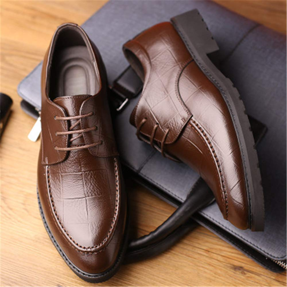 US Men) M Linson123 Mens Leather Shoes Business Low to Help Pointed Casual Fashion Mens Shoes(Brown Lable 38//5.5 D