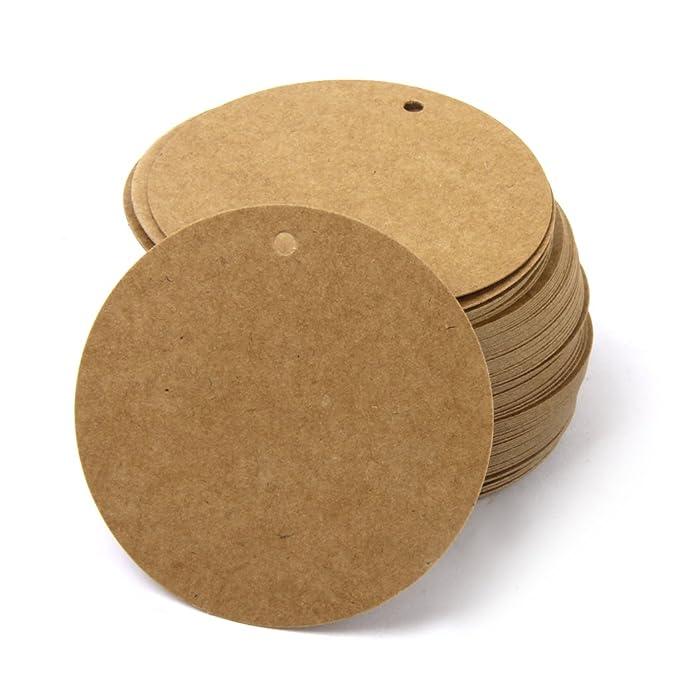 Phenovo Runde Geschenkaufkleber Geschenkanh/änger Geschenk Umbauten Aufkleber Kraft Papier Leer Karte Hand Zeichnen Sie 100 St/ück braun