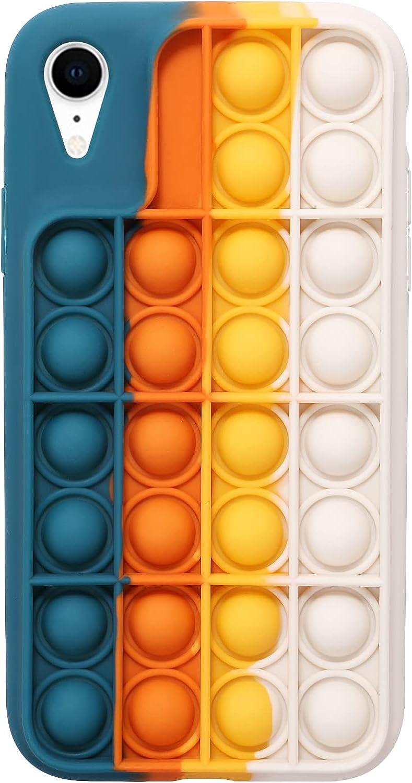 EVERMARKET Push Pop Bubble Fidget Sensory Toys Case for iPhone XR, Push Pop Bubble Silicone Case for iPhone XR, Drop Protection Case 6.1inch (Blue Yellow)
