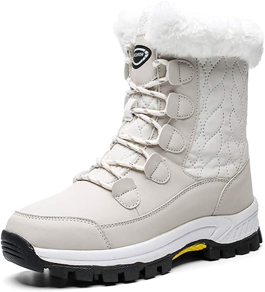 LADIES WOMENS LACE UP FLAT GRIP SOLE FUR LINED WINTER PADDED BOOTS SHOES SIZE