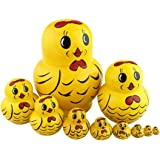 Perfect Mother's Day Gift 10pcs Cutie Lovely Cartoon Vivid Animal Nesting Dolls Matryoshka Russian Doll Popular Handmade Hand-paint Kids Girl Gifts Christmas HolidayToy (Yellow Chicken)