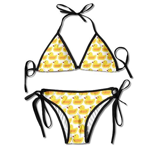 a5647b218a Amazon.com: Women's Yellow Duck Pattern Extender Strap Padding Bikini  Swimsuit 2pcs Swimwear: Clothing
