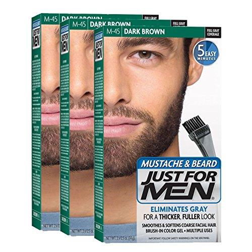 Just For Men Mustache & Beard, Dark Brown (Pack of 3)
