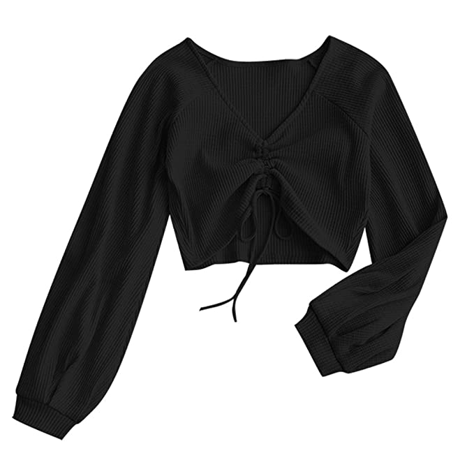 b41bb18961b4f ZAFUL Women s Casual Long Sleeve V-Neck Ribbed Knitted Knot Front Crop Top ( Black