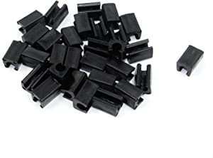 MTMTOOL Set of 30 Black Furniture Feet PP Plastic Rectangle Shaped Non-Slip Chair Legs Tips Caps Foot Pads Covers 12mm