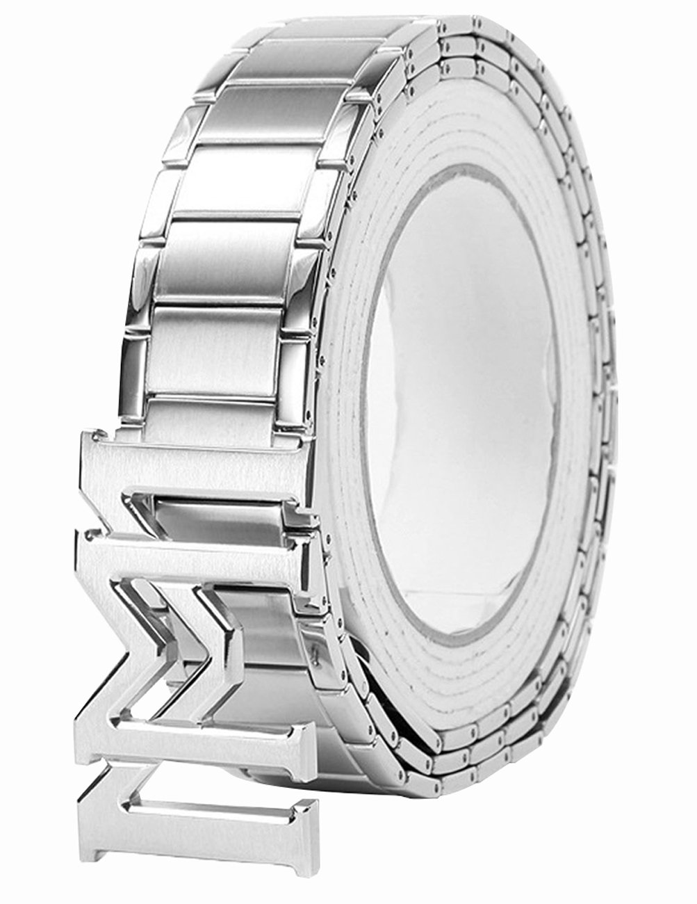 Menschwear Men's Stainless Steel Belt Slide Buckle Adjustable 32mm 124 Silver 130cm by Menschwear