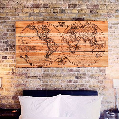 Joe&Lee Classy Laser Engraved Wooden World Map | Graphic Wall Art Home Wall Decor | Room Office Wall Art | Rustic Vintage Farmhouse Style decorations | Travel Push Pin Map | Perfect Artwork Gift Idea by Joe&Lee (Image #3)