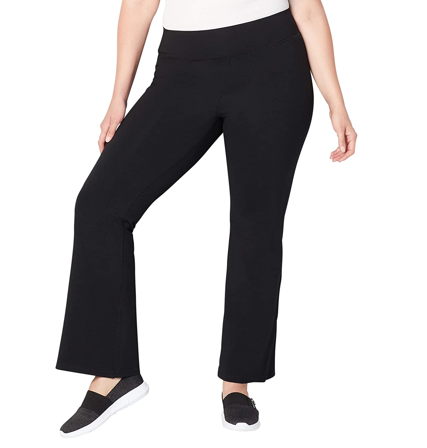 Avenue Women's Pima Cotton Flare Leg Active Pant 18/20 Black 40571418
