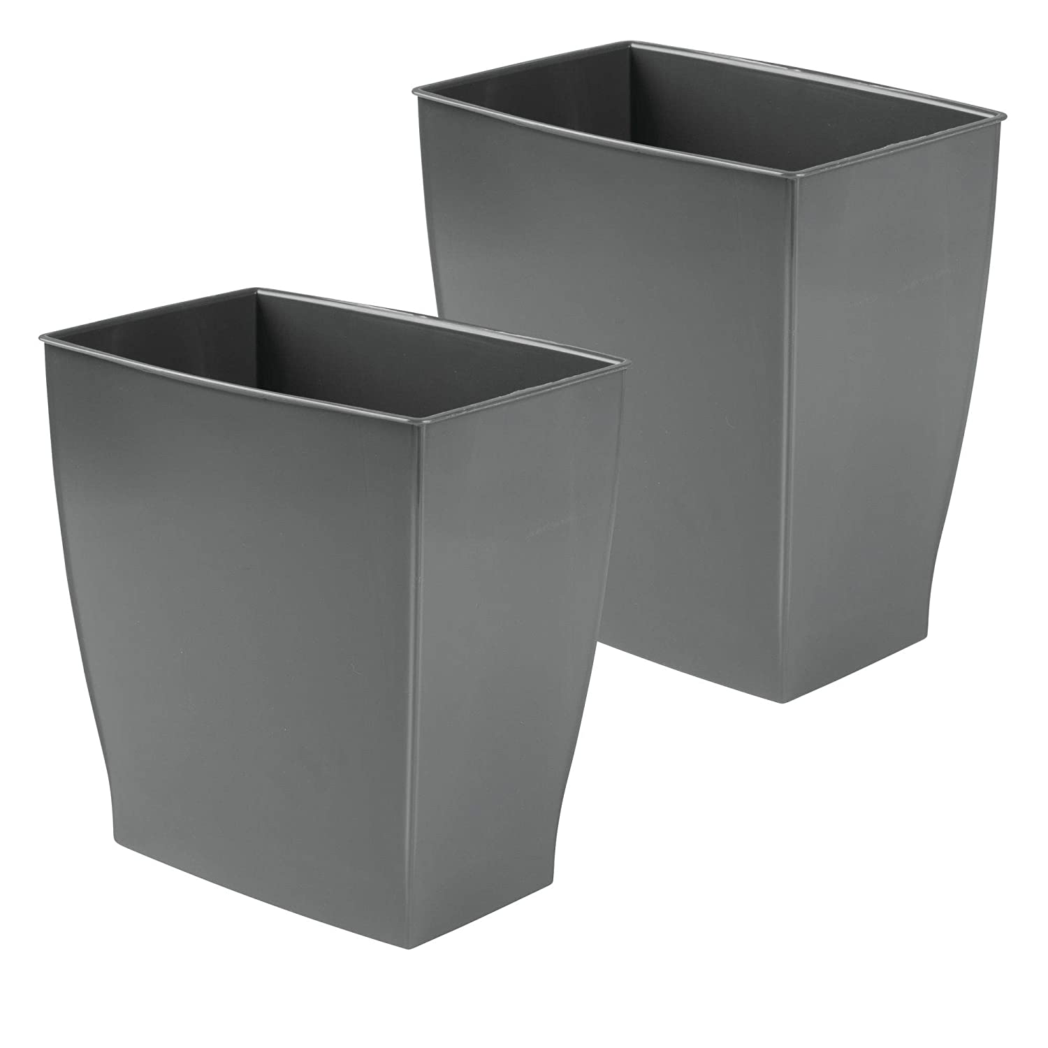 mDesign Rectangular Trash Can Wastebasket, Small Garbage Container Bin for Bathrooms, Powder Rooms, Kitchens, Home Offices - Shatter-Resistant Plastic, 2 Pack - Slate Gray