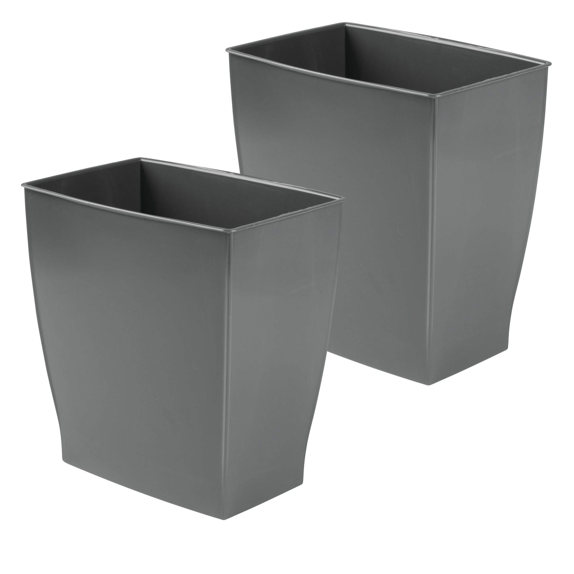 mDesign Rectangular Trash Can Wastebasket, Small Garbage Container Bin for Bathrooms, Powder Rooms, Kitchens, Home Offices - 2 Pack, Shatter-Resistant Plastic, Slate Gray