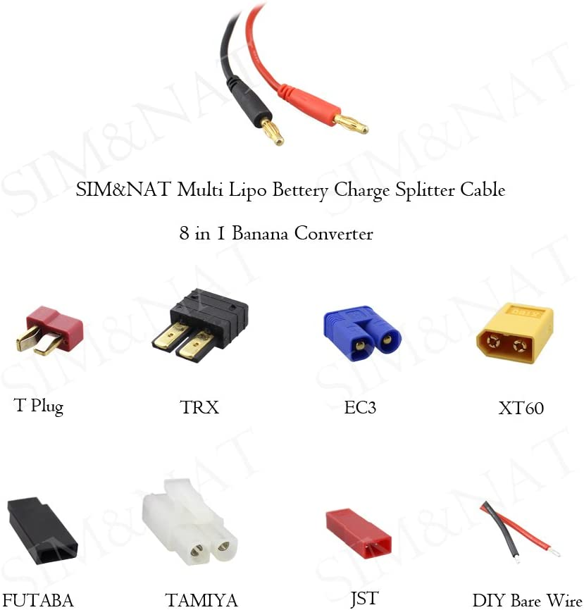 SIM&NAT RC Lipo Battery Charger Adapter Connector Splitter Cable, 8 in 1 Octopus Convert Wire to 4.0mm Banana Plug for TRX, Tamiya, EC3, JST, Futaba, XT60, T- Dean: Toys & Games