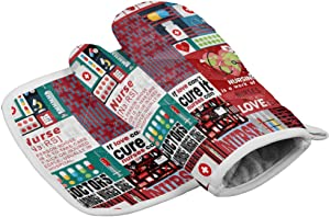 Crystal Emotion Kitchen Oven Mitts and Pot Holders Sets, Nurse Picture Check Heat Resistant Oven Gloves and Potholders Hot Pads Set Non-Slip Mittens for Cooking BBQ Baking Grilling