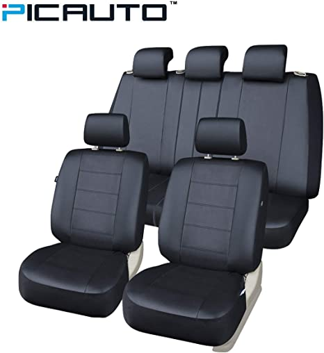 PIC AUTO Car Seat Covers Set for Auto Airbag Compatible PU Leather Universal Fit Truck Van SUV Black 9-Pieces