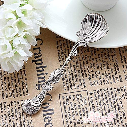 Set of 6 CrossStand Fancy Ocean Sea Shell Tea Spoon Design Silver Plated Repousse Serving Salt Sugar ()