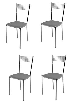 Tommychairs sillas de Design - Set de 4 sillas Modelo Elegance de Cocina, Comedor, Bar y Restaurante, con Estructura en Acero Cromado y Asiento ...