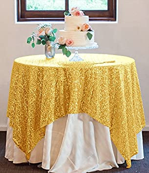 Gold SEQUIN TABLECLOTH 60x60 Inch Square,Sequin Overlay, Gold Wedding  Tablecloth
