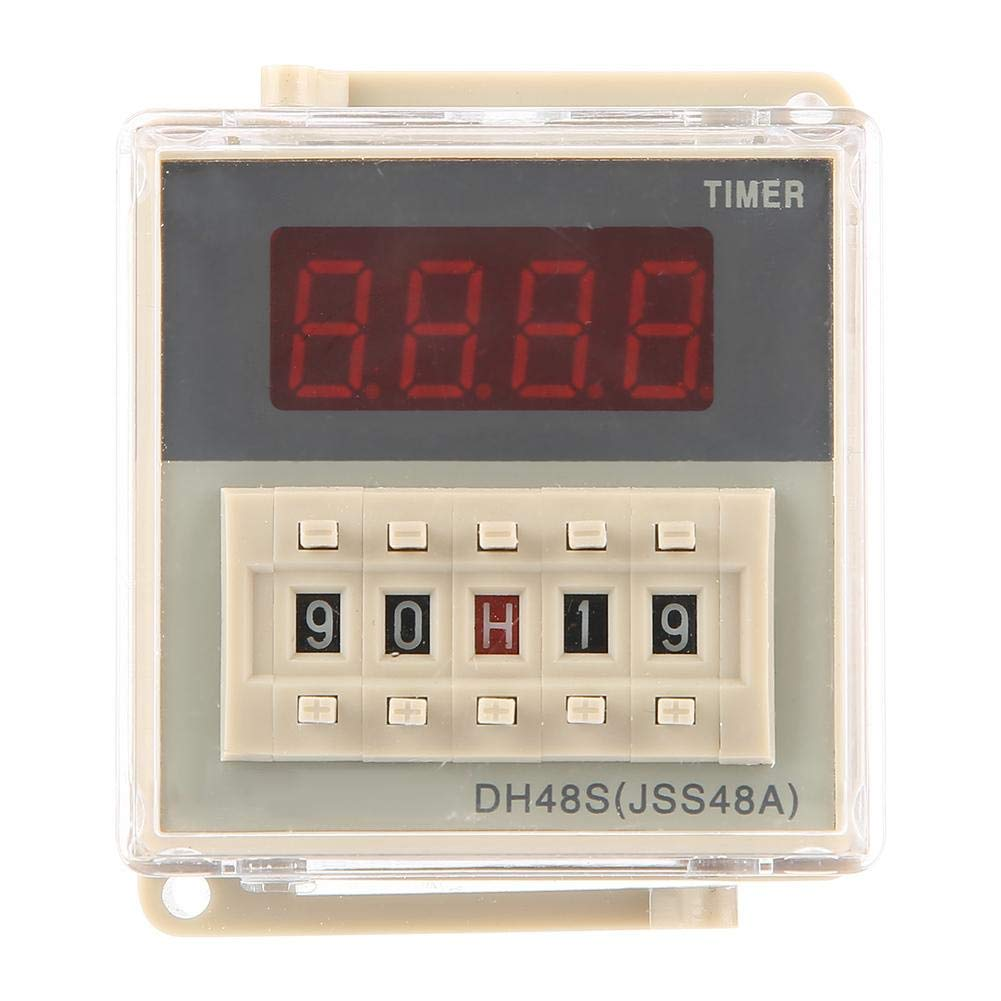 DH48S-1Z AC 220V 0.01S-99H99M Power On Delay Digital Display Time Relay with Base for Remote Control,Communication,Automatic Control Timer Relay