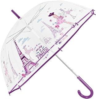 Ombrello Trasparente Donna - Ombrello Cupola Automatico con Stampa Parigi - Resistente e Antivento - Fantasia alla moda - Diametro 89 cm - Perletti