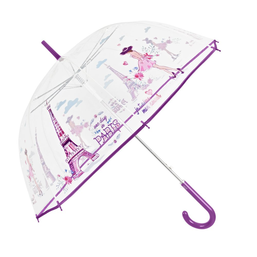 Parapluie Femme Transparent - Parapluie Cloche Automatique - Parapluie Canne Anti Vent - Fantaisie à la Mode Impression Paris - 112 cm Diamètre - Perletti Time 25998