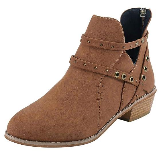 Zapatos Mujer,ZARLLE Mujeres Hebilla Damas Faux Botas Calientes Botines Tacones Medios Zapatos Ankle Remaches Botas Zapatos de Punta Redonda Zapatos de ...