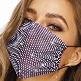 Barode Sparkly Rhinestones Mesh Mask Crystal Purple Masquerade Party Nightclub Face Masks Jewelry for Women and Girls (Purple