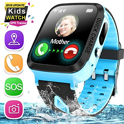 Kids Smart Phone Watch, IP67 Waterproof GPS Tracker Watch for 3-12 Year Girls Boys Two-Way Call SOS Camera Games Swim Camp Activity Tracker Electronic Learning Toy for Back to School Birthday Gifts (Best Smartphone For Kids)