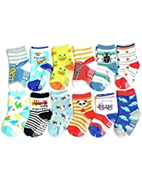 ShoppeWatch 12 Pairs Baby Toddler Socks with Grips Anti-Slip Non-Skid For Kids Babies Unisex 2T and 3T Walkers BBSK14B