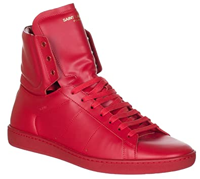 51e32068f08f Saint Laurent Men s Red Leather SL 01H High Top Sneakers Shoes