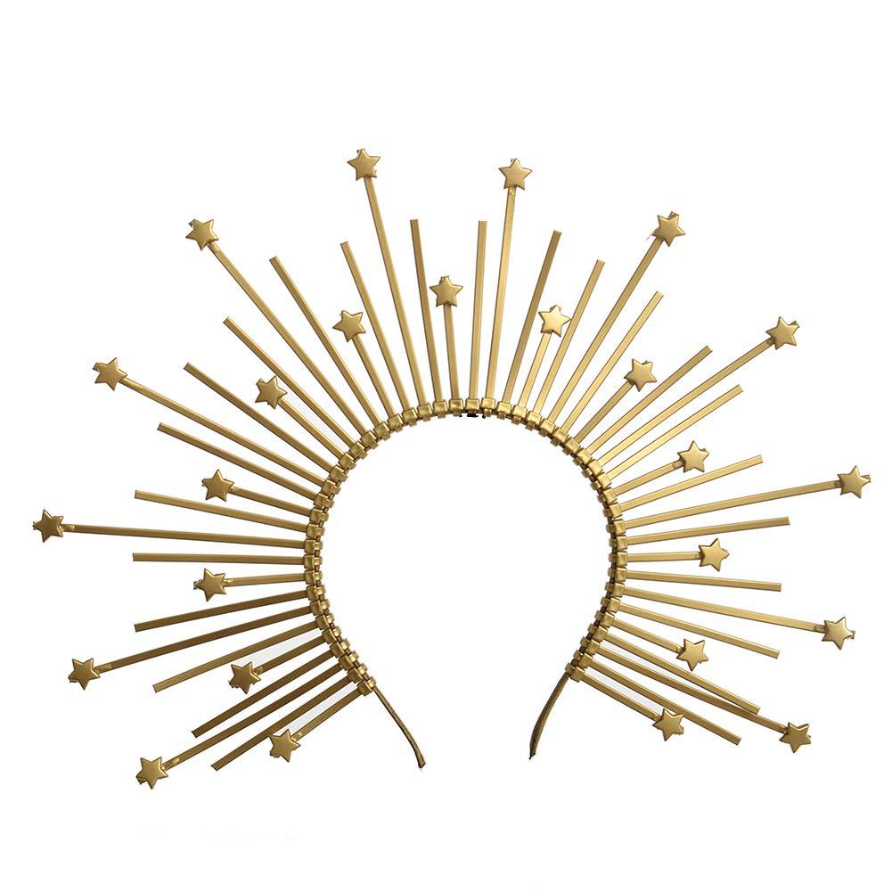 Halo Crown with Gold Star Detail Sunburst Crown Customizable Bridal Crown Met Gala Crown by BPURB