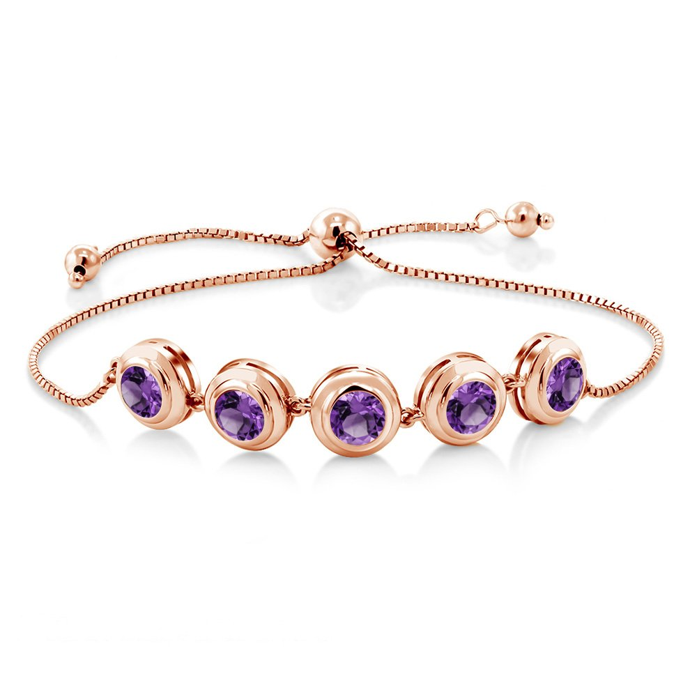 3.50 Ct Round Purple Amethyst 18K Rose Gold Plated Silver Tennis Bracelet by Gem Stone King (Image #3)
