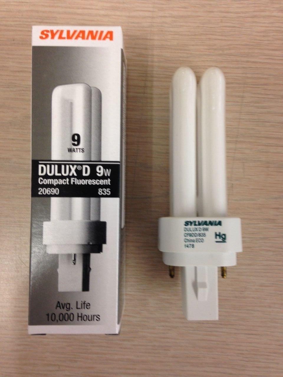 20 Sylvania 20690 CF9DD/835/Eco 9W 3500K 2PIN Compact Fluorescent Lamps