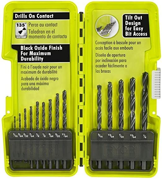 7 Pcs Ryobi A10D07G Black Oxide Drill Bit Set