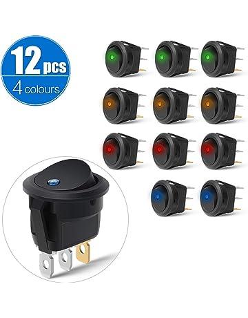 KKmoon 16mm 12 V Auto Blau LED Metall Push Button Kippschalter Buchse Stecker F/ür Auto