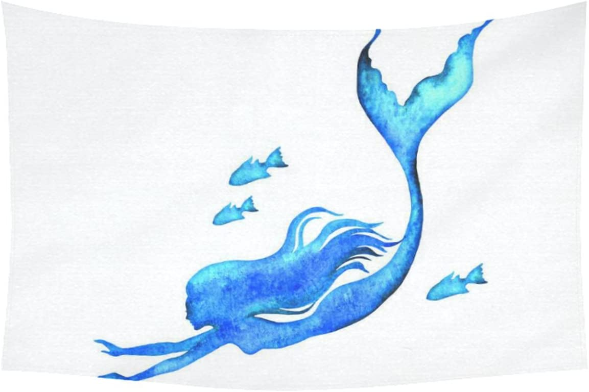 INTERESTPRINT Watercolor Art Home Decor, Silhouette of Mermaid Tapestry Wall Hanging Art Sets 60 X 40 Inches