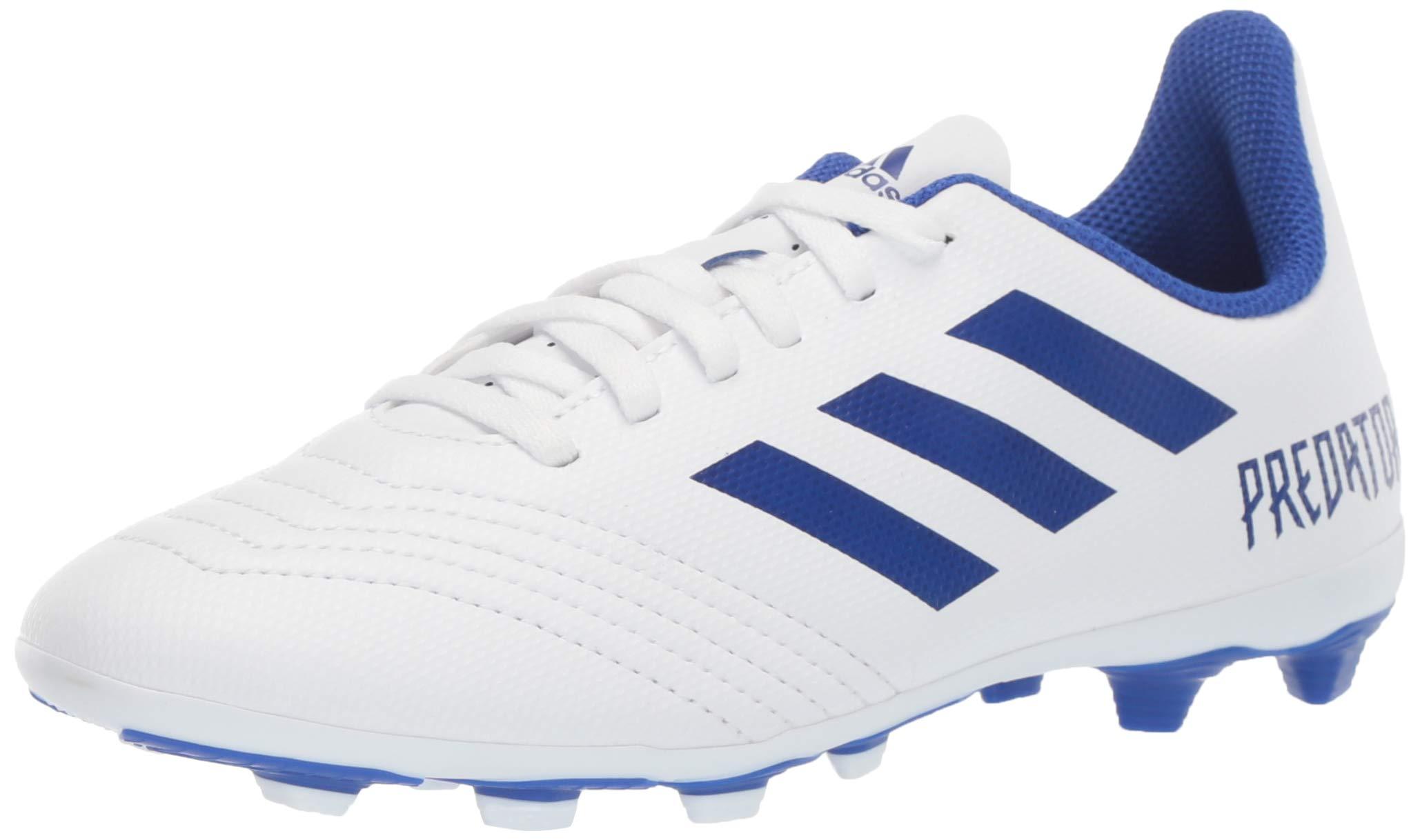 adidas Unisex Predator 19.4 Firm Ground Soccer Shoe White/Bold Blue/Bold Blue, 3 M US Little Kid