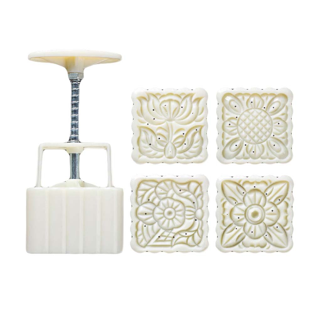 125G Square Shape Moon Cake Mold 4 Stamps Cake Mold Cookie Mold Panda Superstore PS-HOM289680-DORIS00922