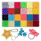 GARUNK Fuse Beads Refill, 24 Colors Water Spray Craft Beads Set Compatible Aquabeads Beados Art Crafts Toys Kids Beginners 3200 Classic Jewel Beads DIY Pegboard Kits