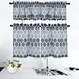 CAROMIO Grey Kitchen Curtains, 3 Pc. Geometric Printed 36 Inch Kitchen Tier Curtains and Valance Set Bathroom Small Half Window Curtains Cafe Curtains, Grey