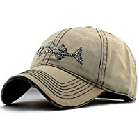 AKIZON Mens Hats Baseball Cap with Fish Bones - Fishing Hat for Men, Beige 7 1/4