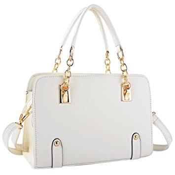 e21a2dc161cc Coofit New Fashion Women s PU Leather Padlock Tote Handbag Ladies Shoulder  Bag (Cream)