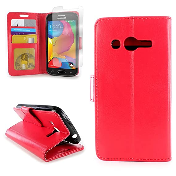 wholesale dealer 5b647 09e29 CoverON for Samsung Galaxy Avant Wallet Case [CarryAll Executive Series]  Synthetic Leather Flip Credit Card Phone Cover (Red) Pouch & Clear Screen  ...