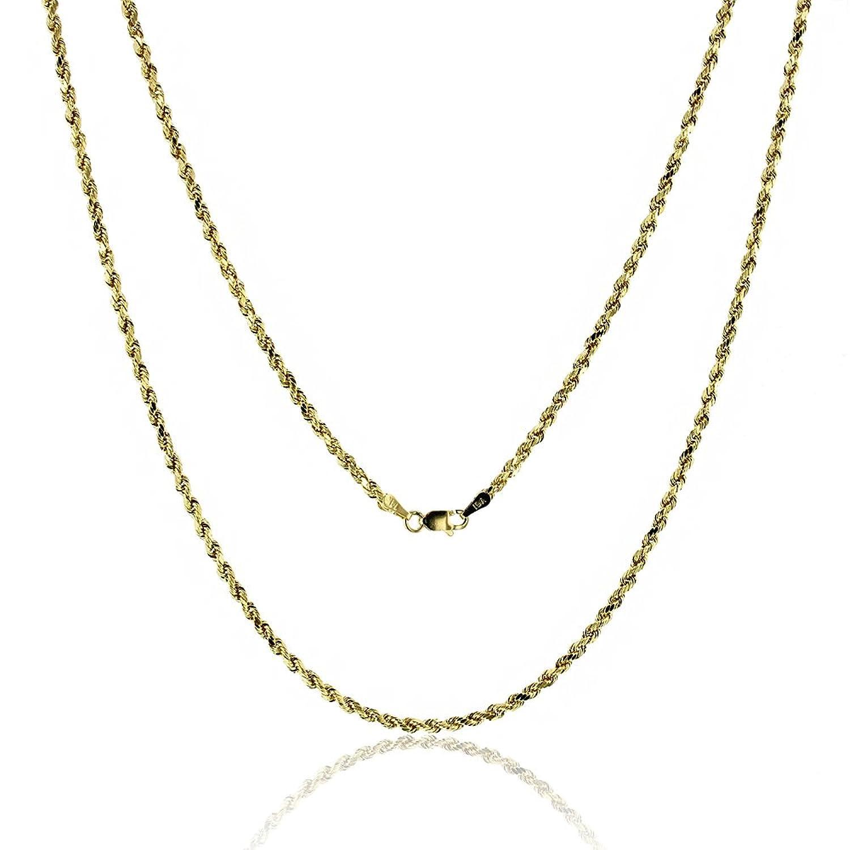 "14k Yellow Gold Diamond Cut Hollow Rope 2.50MM 018 24"" Chain"