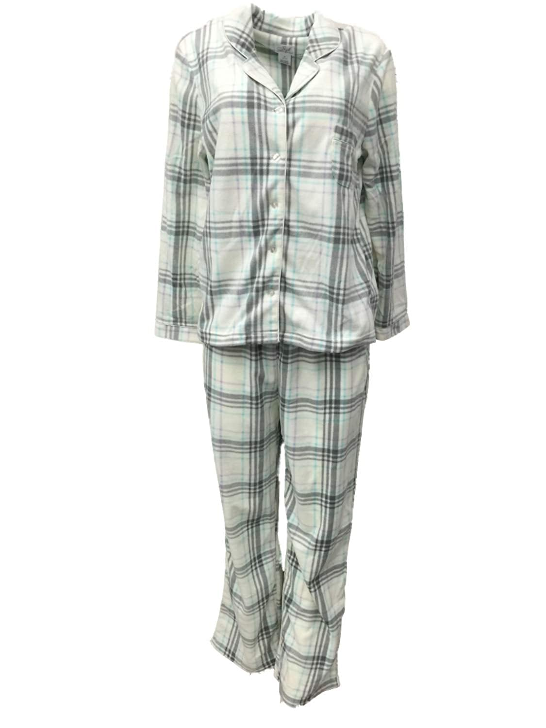 Soft Sensations Womens Ivory Purple   Gray Plaid Fleece Pajamas PJs Sleep  Set at Amazon Women s Clothing store  70738a4bd