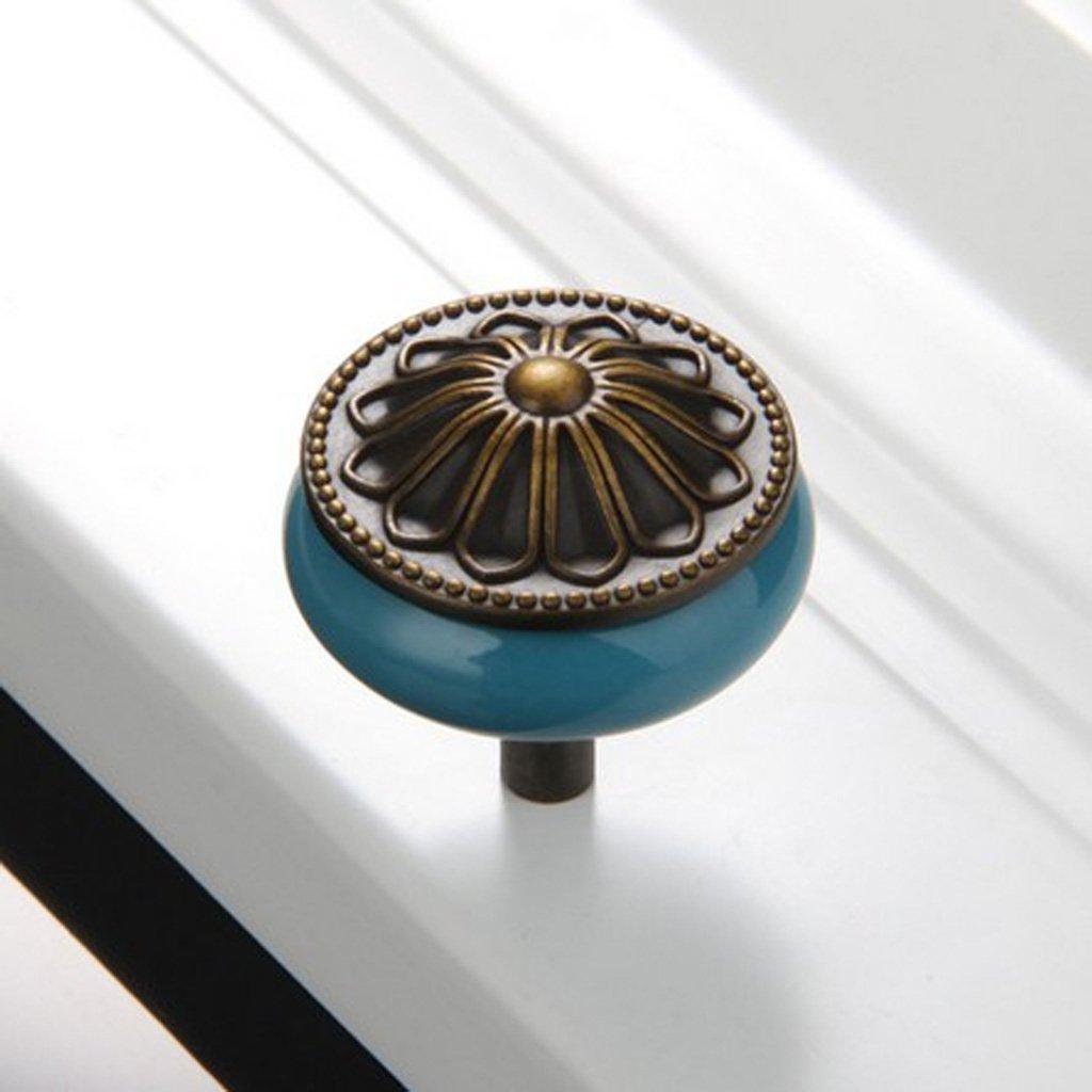 D DOLITY Vintage M/öbelknauf M/öbelgriffe M/öbelknopf aus Porzellan Blau