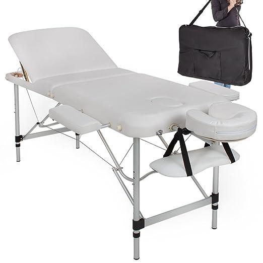 Tectake Lettino Massaggio.Tectake Lettino Massaggi Imbottitura Estetista Massaggio Portatile In Alluminio Bianco